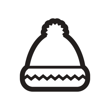 ski wear: Flat icon in black and white winter hat