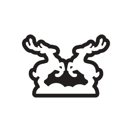 ungulate: Flat icon in black and white deer