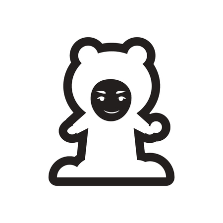 snowball: Flat icon in black and white child snowball Illustration