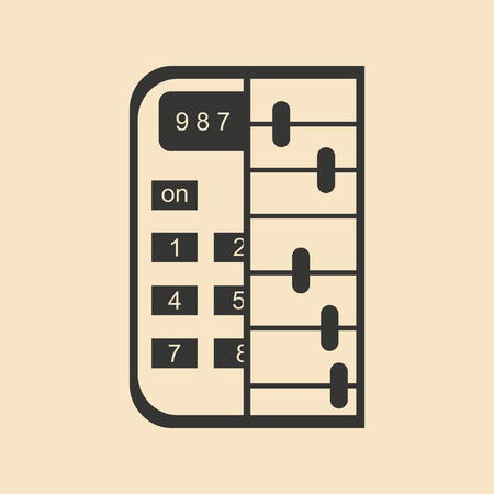Flat in black and white abacus calculator Illustration