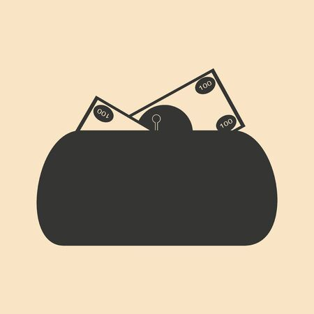outmoded: Flat in black and white women purse full money Illustration