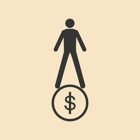 charges: Flat in black and white man stands on coin Illustration