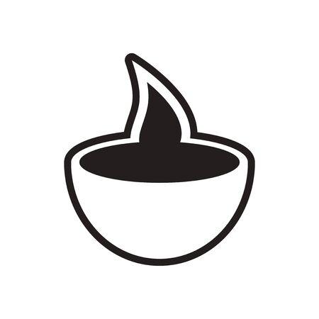 stylish black and white icon Indian candle Illustration