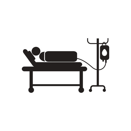 sickbed: stylish black and white icon patient with dropper