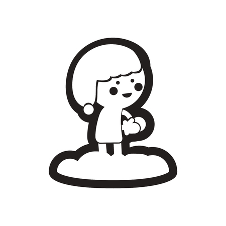 toss: Flat icon in black and white child snowball Illustration