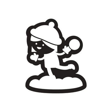 Flat icon in black and white child snowball Illustration
