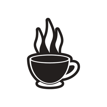 steam of a leaf: stylish black and white icon Indian tea cup Illustration
