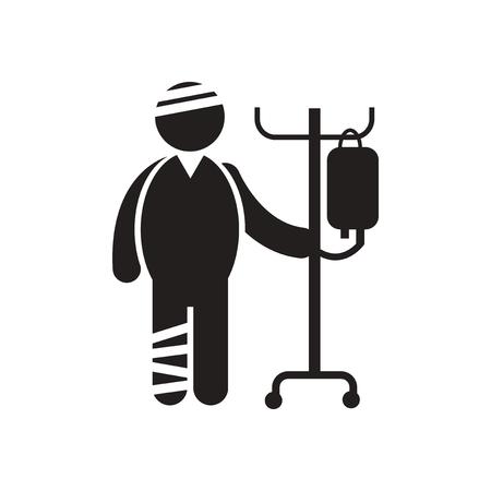 bandaged: stylish black and white icon bandaged man