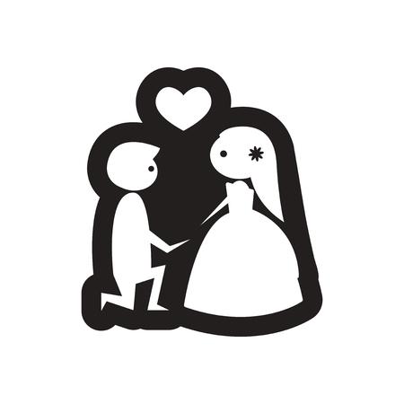 icone plat en noir et blanc mariée et le marié