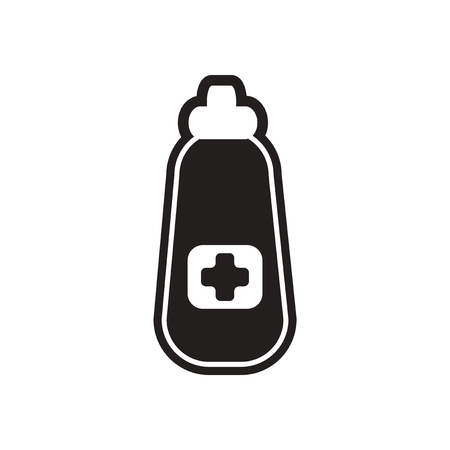 a substance vial: stylish black and white icon medicine bottle