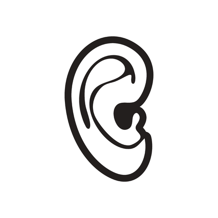 the human ear: stylish black and white icon human ear Illustration