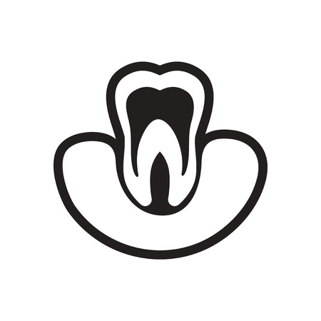 carious cavity: stylish black and white icon healthy tooth