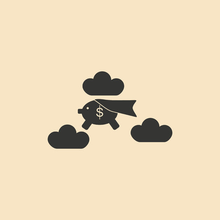 pig with wings: Flat black and white piggy bank in the clouds