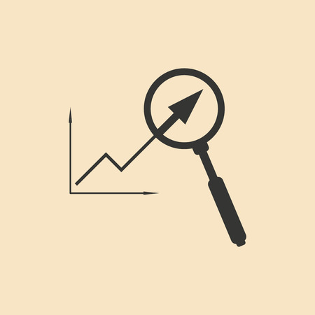 magnifying: Flat in black white growing graph and magnifier Illustration