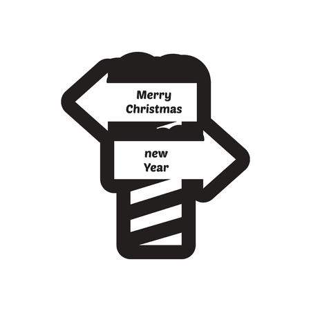 frigid: flat icon in black and white pointer North Pole Illustration