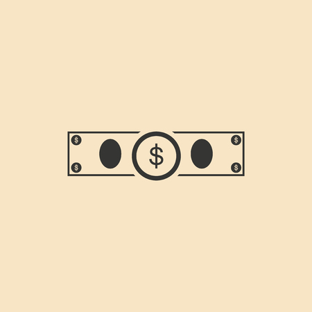 paper background: Flat in black and white dollar bill