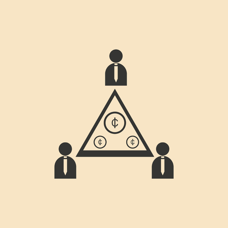 promising: Flat in black and white People Pyramid money