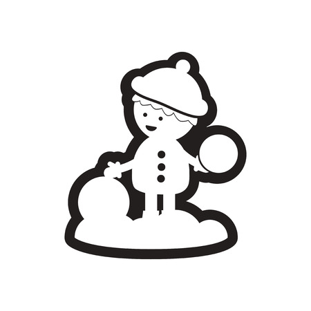 elation: flat icon in black and white boy snow