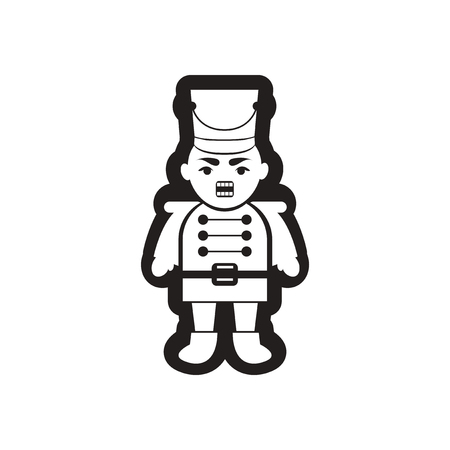nutcracker: flat icon in black and white nutcracker