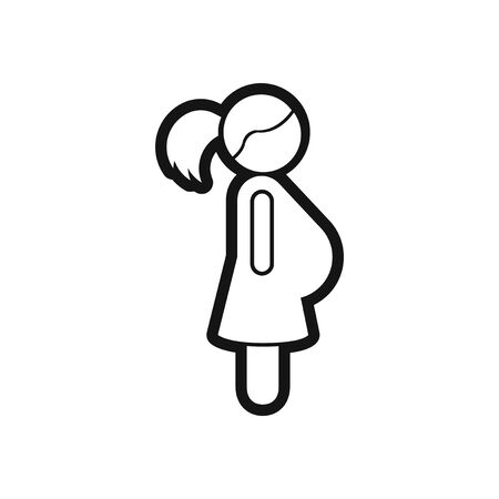 pregnant black woman: stylish black and white icon pregnant woman Illustration