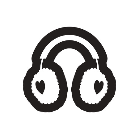 earmuff: flat icon in black and white earmuffs