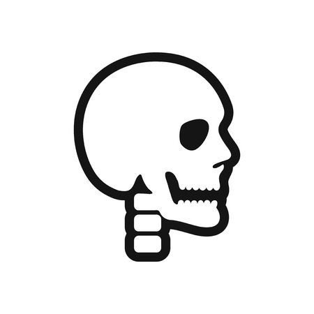 stylish black and white icon human skull
