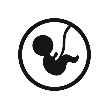 obstetrician: stylish black and white icon child in the womb