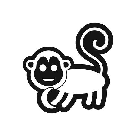 gaiety: stylish black and white icon monkey with bananas