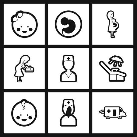 obstetrics: assembly stylish black and white icons obstetrics Gynecology