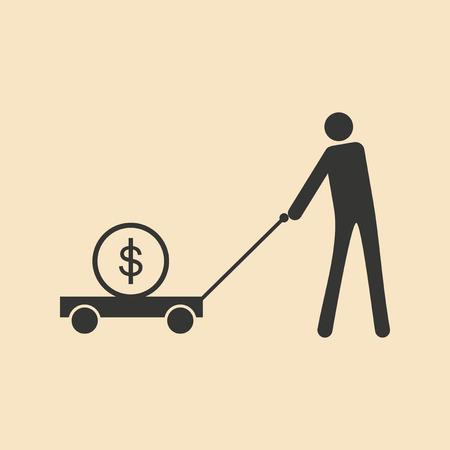 goof: Flat black white man and dollar in cart