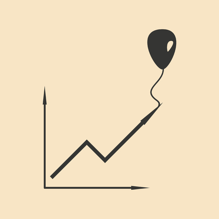 financial consultant: Flat in black white chart and balloon