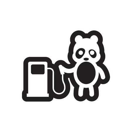 refueling: style black and white icon Panda worker refueling Illustration