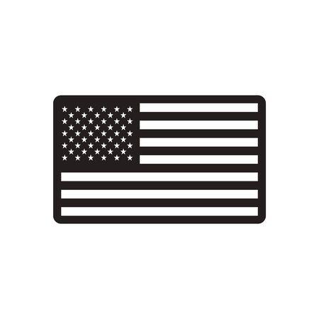 black american: stylish black and white icon American flag