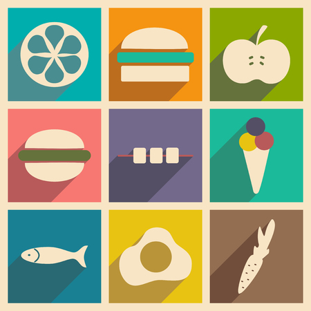snacks: Flat with shadow concept and mobile application snacks Illustration