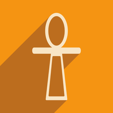 personal god: Flat with shadow icon and mobile application ancient Egypt ankh