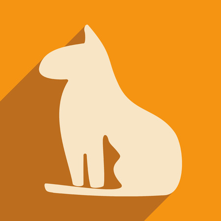 cat goddess: Flat with shadow icon and mobile application Egypt cat Illustration
