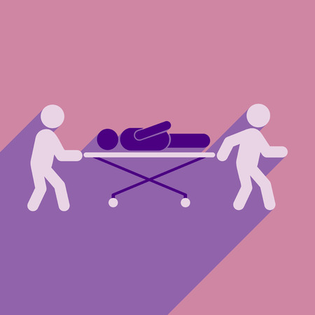 stretcher: Modern flat icon with long shadow patient on stretcher Illustration