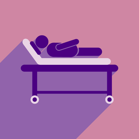 bedridden: Modern flat icon with long shadow patient in hospital bed