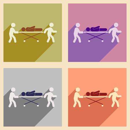 paciente en camilla: colección de iconos planos moderna con una larga sombra sobre la camilla del paciente Vectores