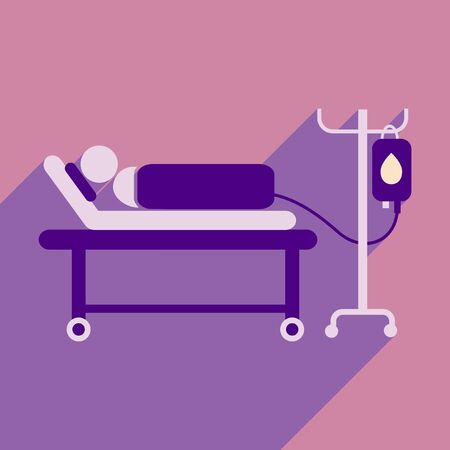 chemotherapy: Modern flat icon with long shadow People transfusion