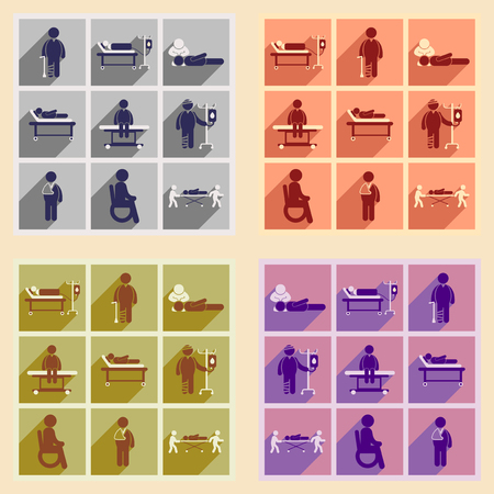 general surgery: Modern flat icons collection with long shadow patients
