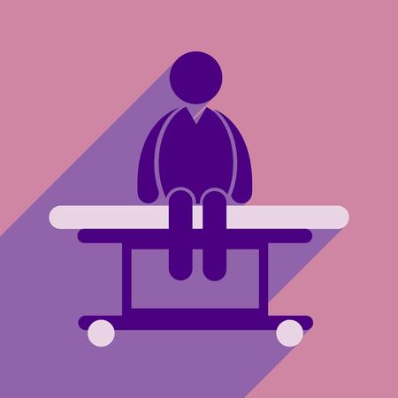 privilege: Modern flat icon with long shadow man sitting Hospital