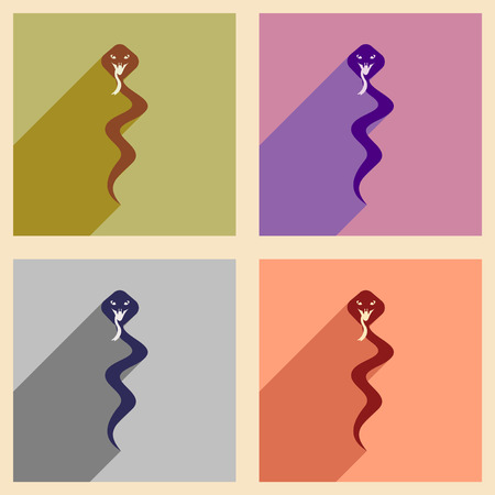 perilous: Modern flat icons collection with long shadow Indian boy Illustration