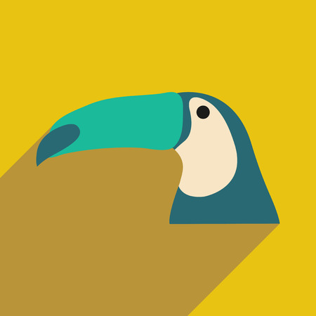 flat icon with long shadow Brazilian toucan
