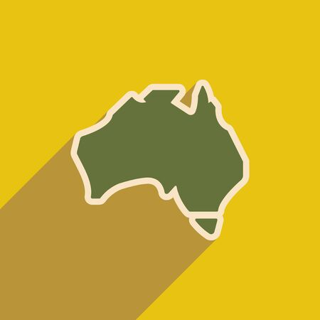 delineation: flat icon with long shadow map of Australia