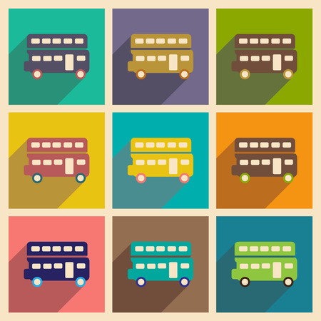 decker: Set of flat icons with long shadow double decker bus