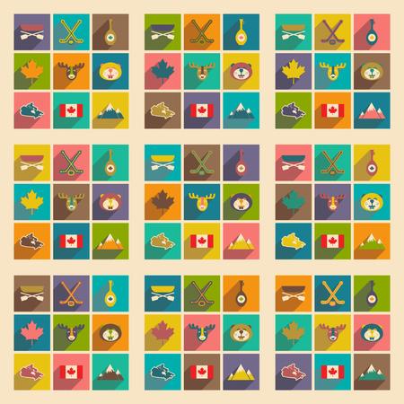 Set di icone piane con una lunga ombra Canada Vettoriali
