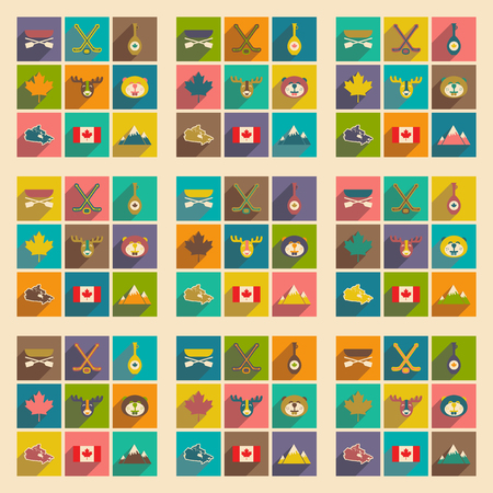 maple leaf: Set of flat icons with long shadow Canada