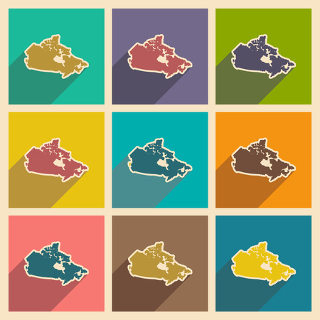 newfoundland: Set of flat icons with long shadow map of Canada Illustration