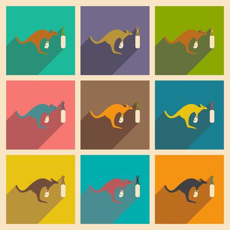 Set of flat icons with long shadow kangaroo boxer
